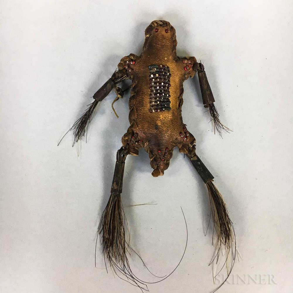 Reproduction Plains Beaded Hide Umbilical Fetish