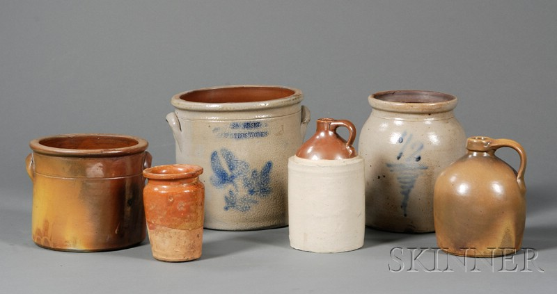 Six Assorted Redware and Stoneware Pottery Items