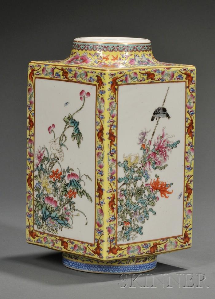 Yellow Glazed Cong Vase