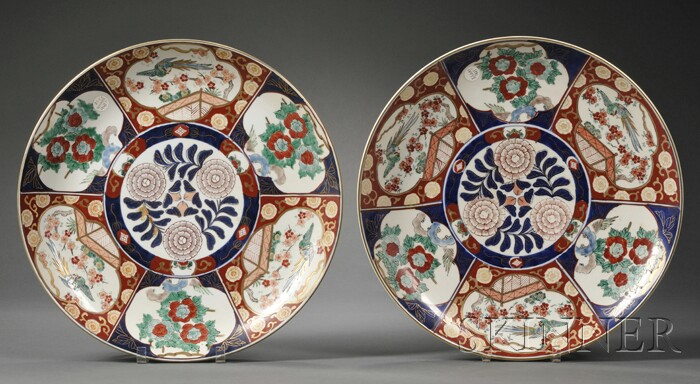 Pair of Large Imari Palette Porcelain Chargers