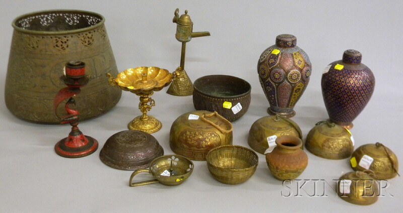 Fourteen Persian, Indian, and Asian Brass and Metal Items