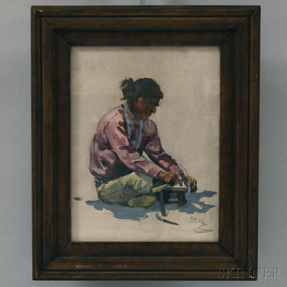 Attributed to Ralph Waldo Emerson Meyers (American, 1885-1948)      Seated Navajo Man.