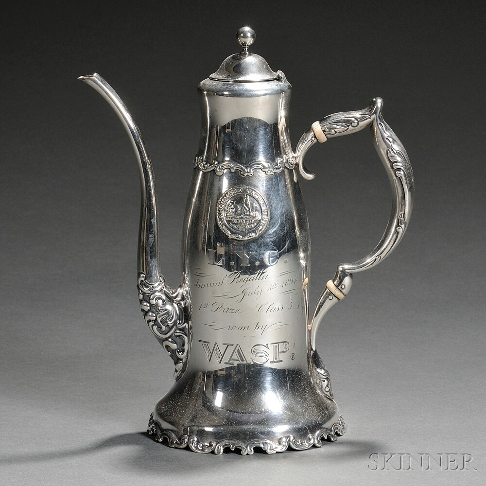 Whiting Sterling Silver Larchmont Yacht Club Trophy Coffeepot