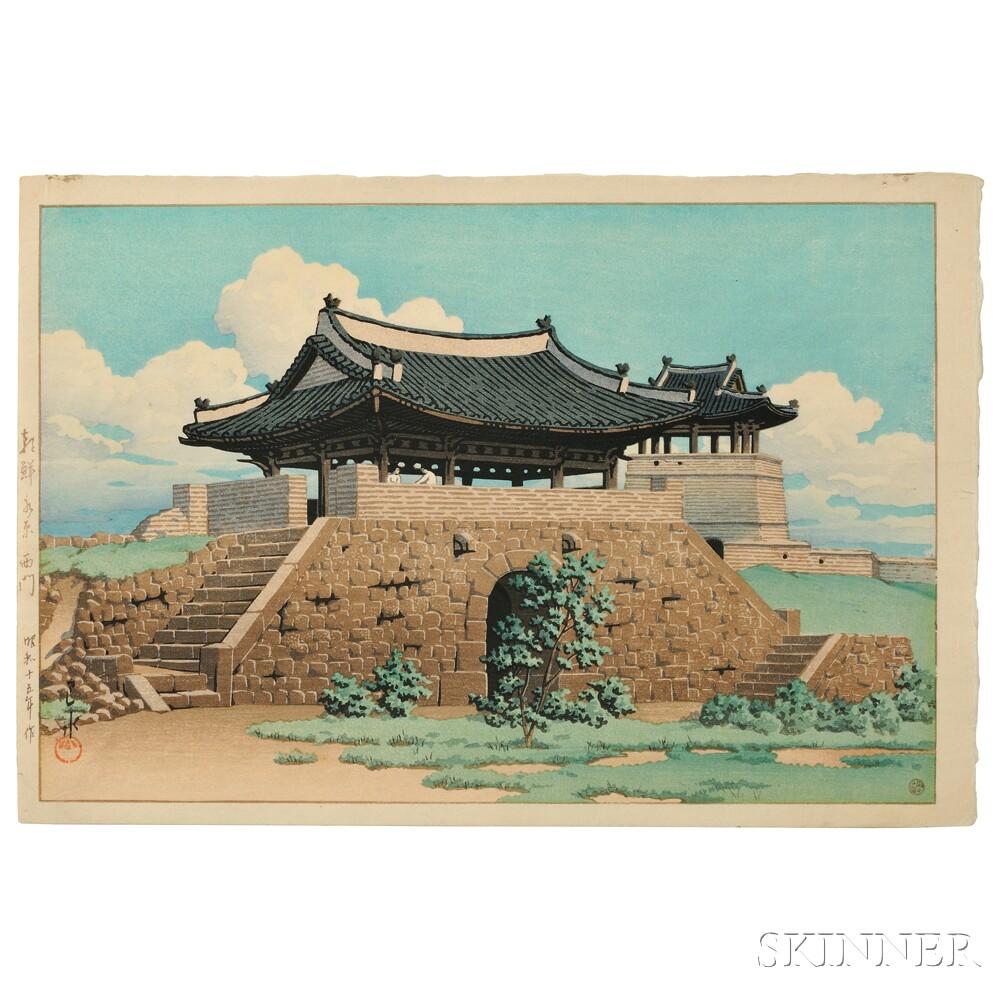 Kawase Hasui (1883-1957), West Gate of Suwon in Korea