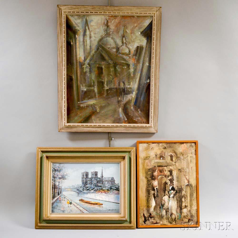 Three Framed European Oil Works