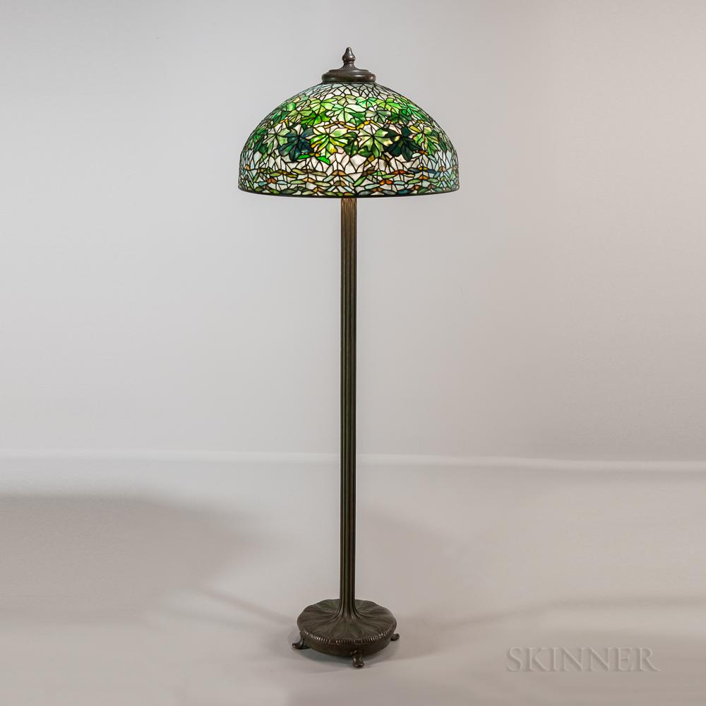 Tiffany Studios Bronze Floor Lamp with Maple Leaf Shade