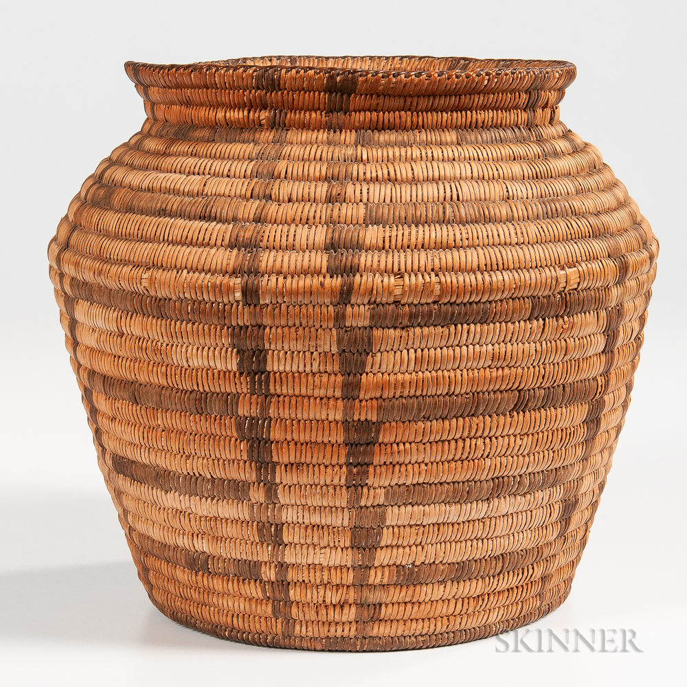 Pima Coiled Basketry Olla