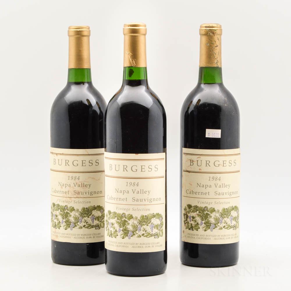 Burgess Cabernet Sauvignon Vintage Selection 1984, 3 bottles