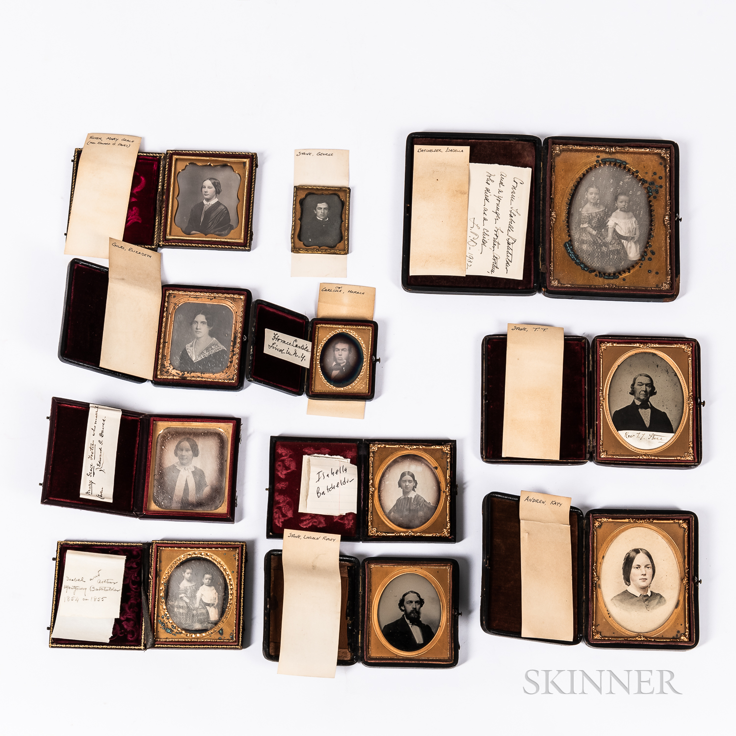 Eleven Identified Photographs of Stone, Batchelder, Foster, Giles, Carlisle and Andrew Family Members,   Mid-19th Century.