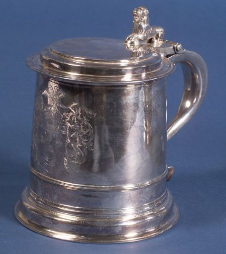 William and Mary Silver Lidded Tankard
