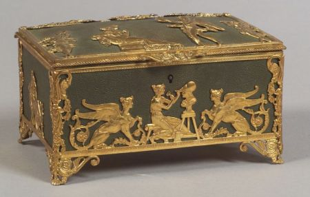 Empire Revival Gilt and Patinated Metal Jewelry Box