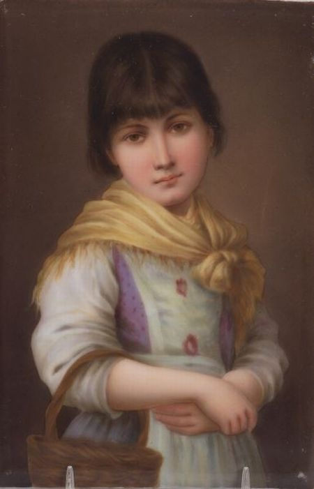 Berlin Painted Porcelain Plaque of a Young Venetian Girl