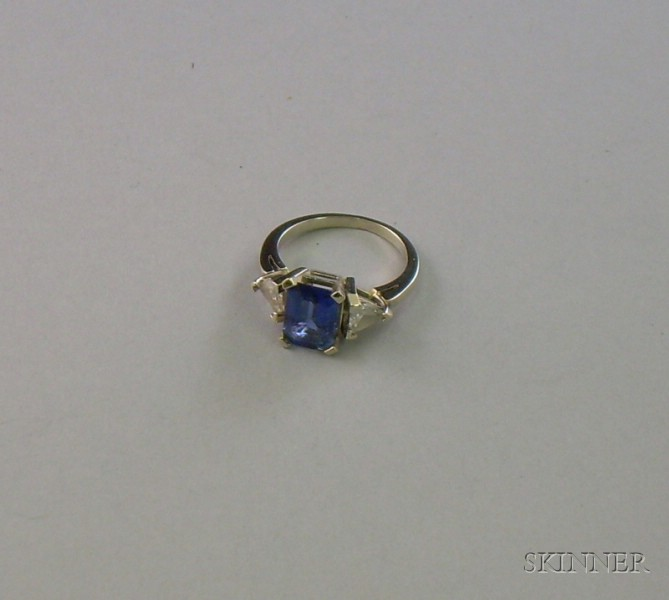 14kt White Gold, Diamond and Sapphire Ring