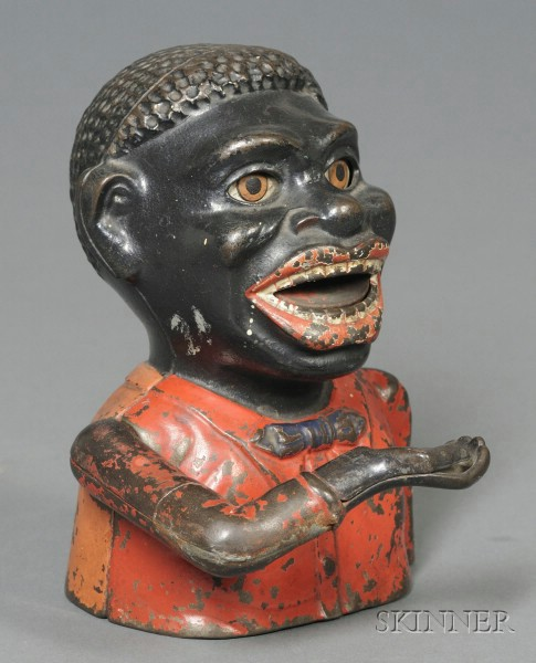 """Painted Cast Iron """"Jolly Nigger """" Mechanical Bank"""