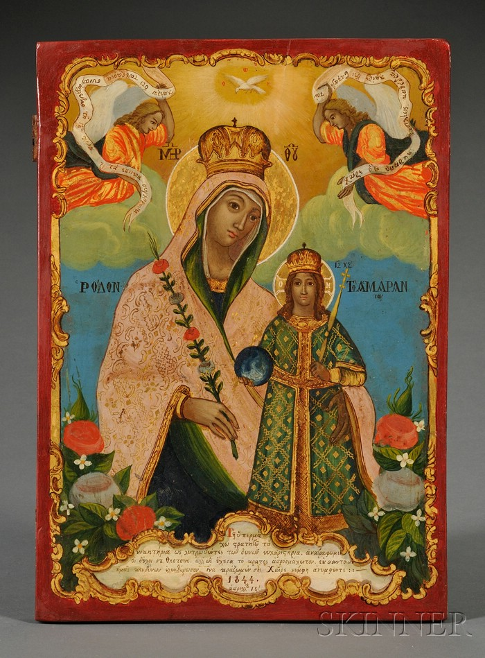 Greek Icon of the Unfading Rose Mother of God