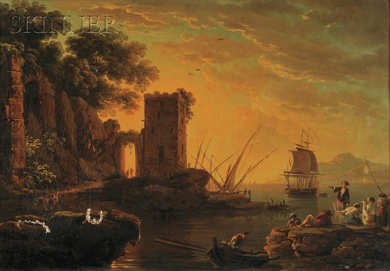 Manner of Claude-Joseph Vernet (French, 1714-1789)      Two Harbor Views:  Day