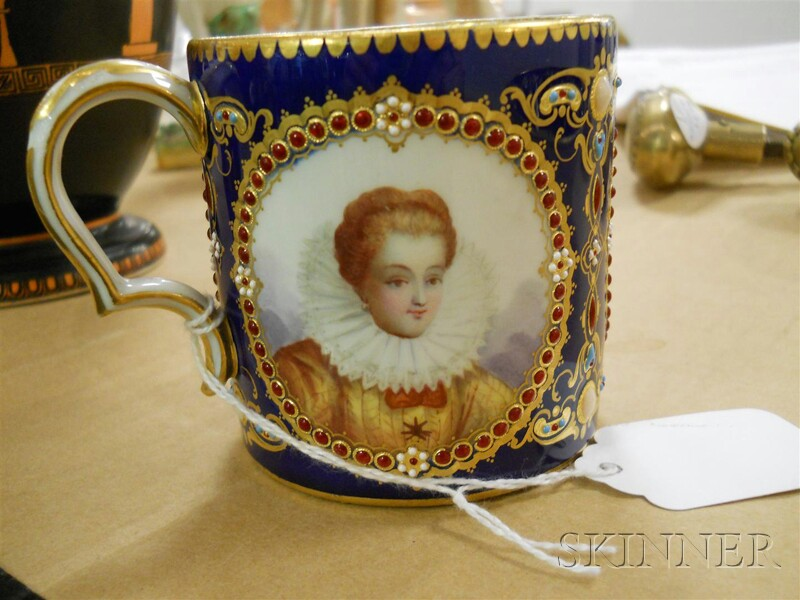 Sevres Porcelain Jeweled Coffee Can and Saucer