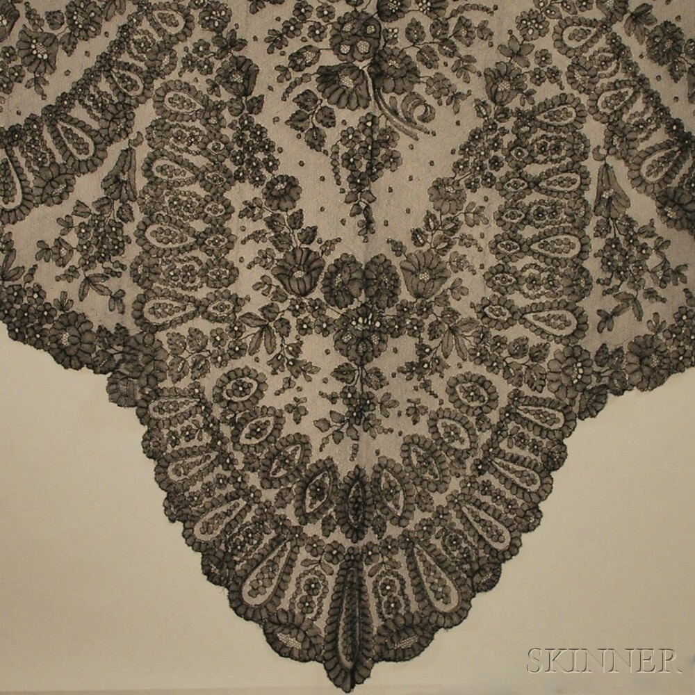 Five Triangular Black Lace Shawls
