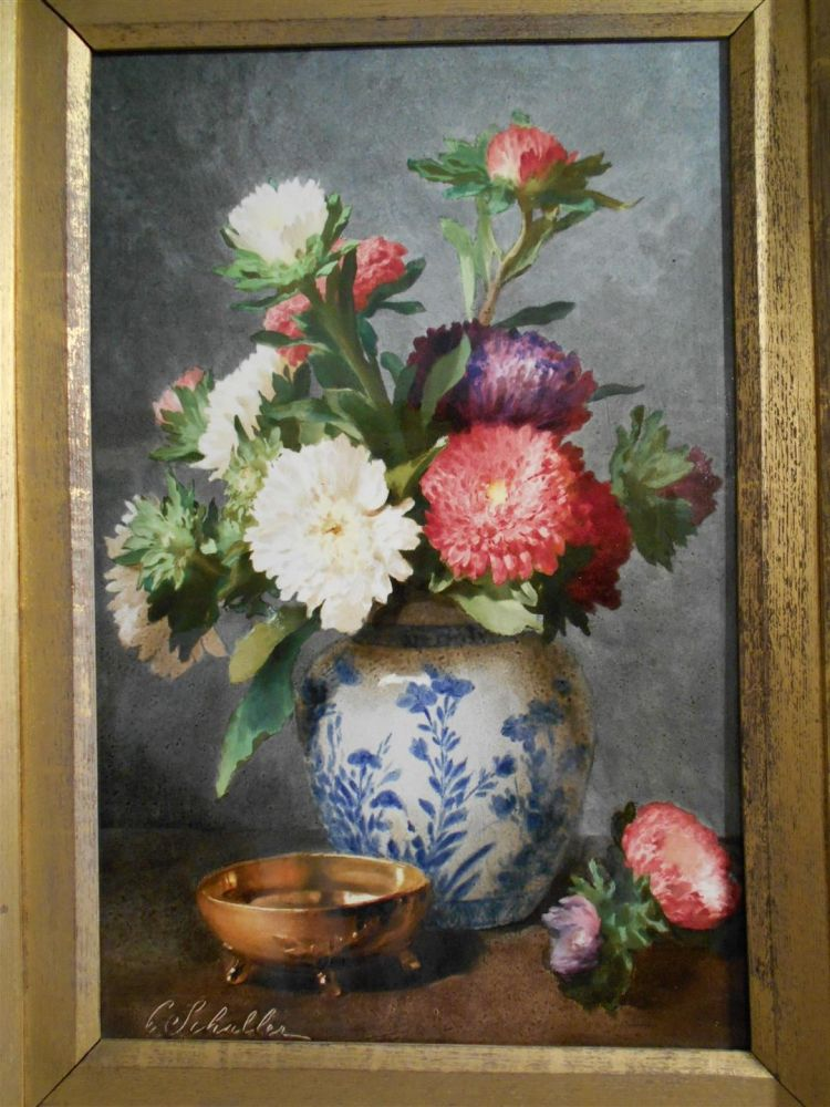 Two French Earthenware Plaques Depicting Flowers