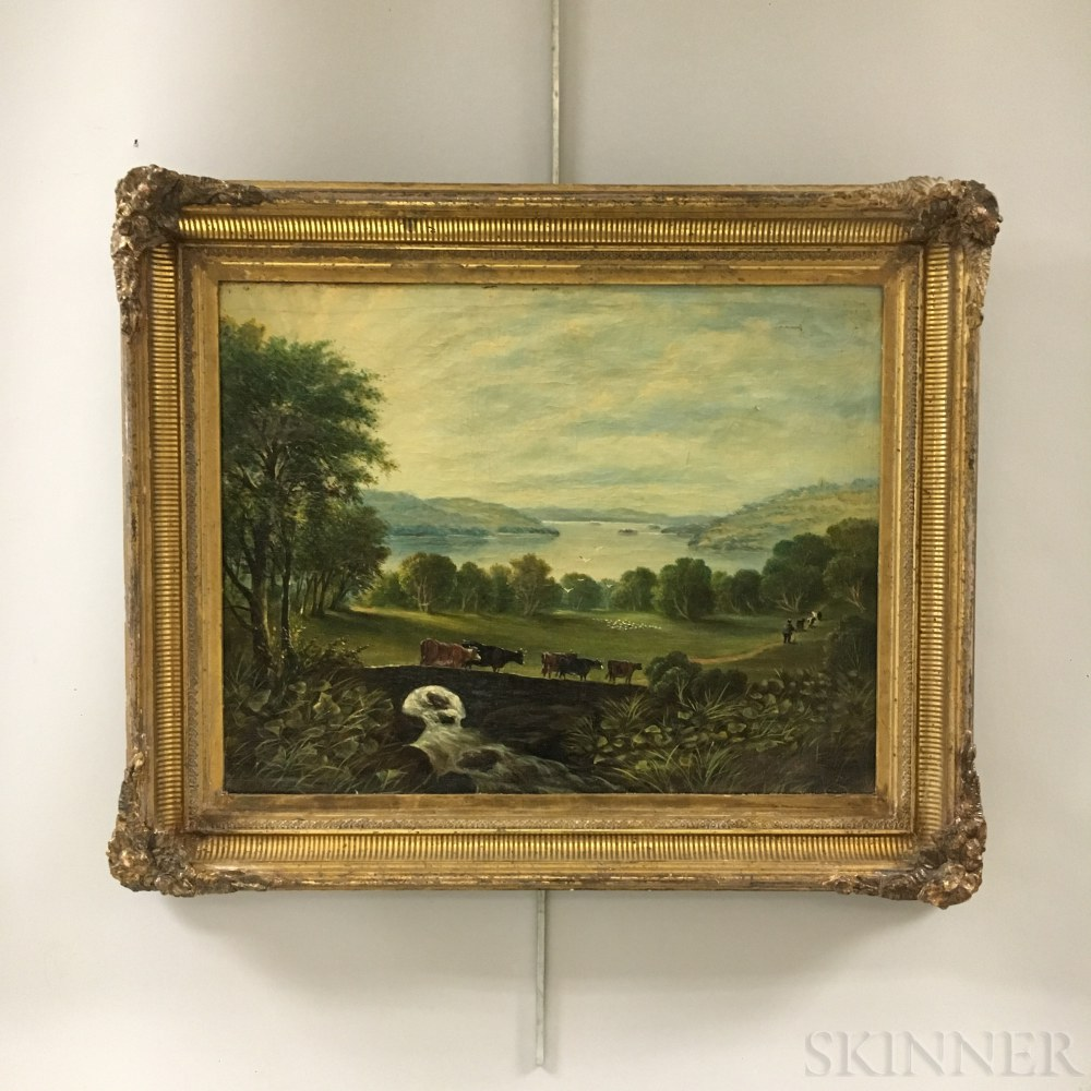 Hudson River School, 19th Century       Cows at Pasture.