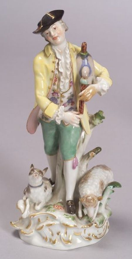 Meissen Porcelain Figure of a Shepherd with Bagpipes