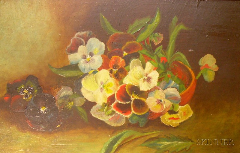 Framed American School Oil on Board Still Life with Pansies
