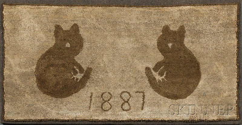 "Cotton Hooked Rug with Two Cats and Dated ""1887,"""