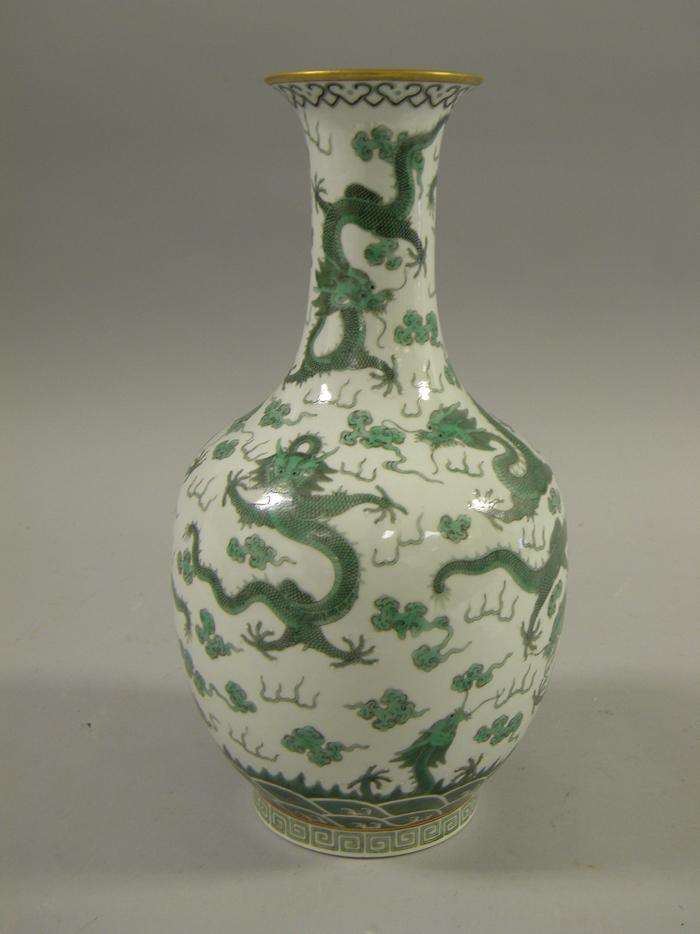 Green Enameled Dragon Vase