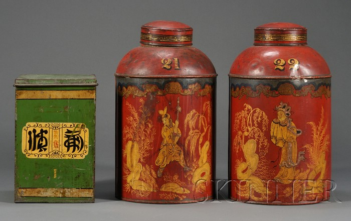 Three Painted Tole Tea Canisters