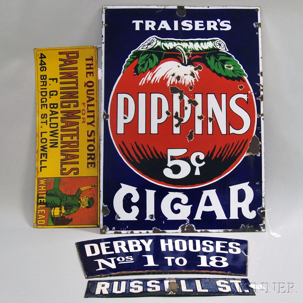 Three Enameled Metal Signs and a Printed Metal Painting Materials Advertising   Sign