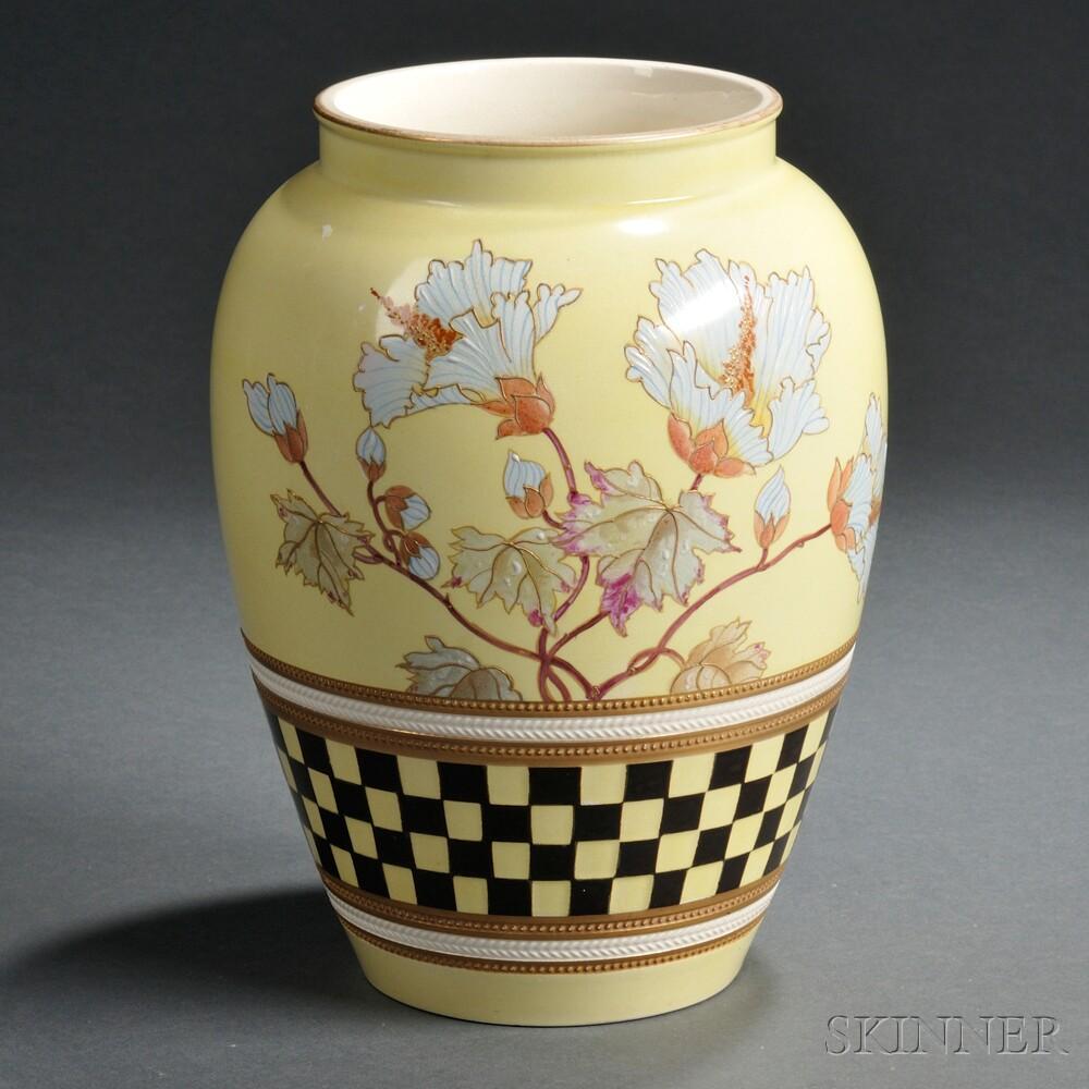 Wedgwood Yellow Ground Queen's Ware Vase
