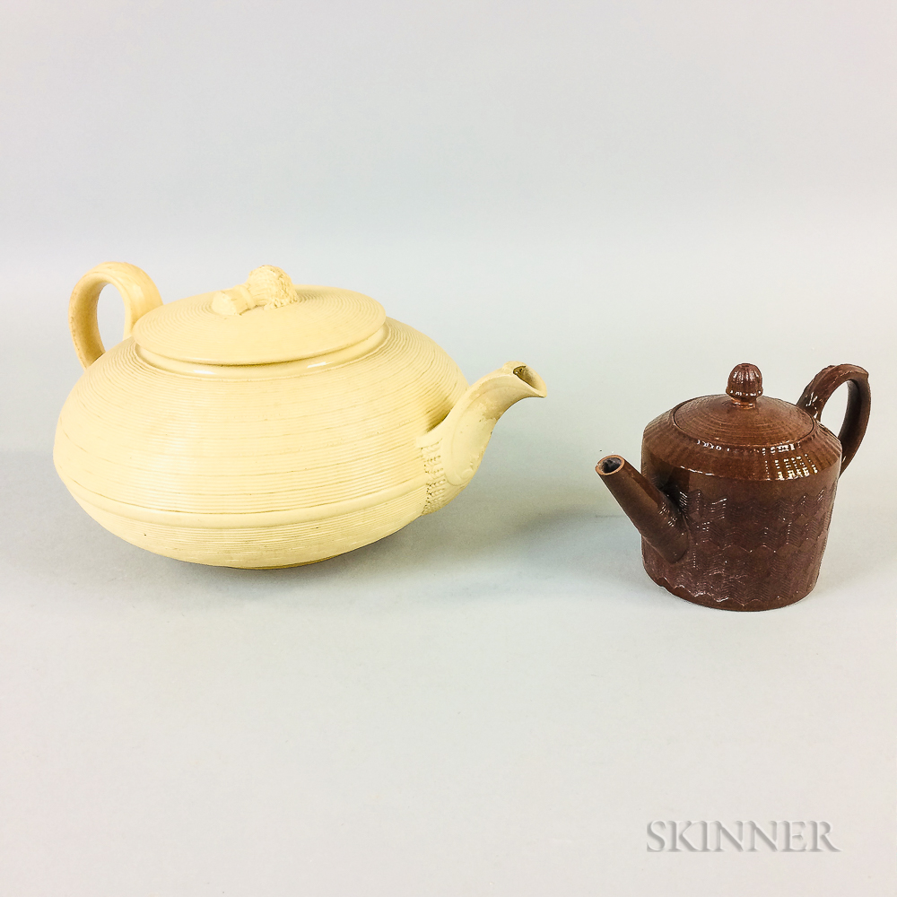 Engine-turned Ceramic Teapot and a Wedgwood Caneware Teapot