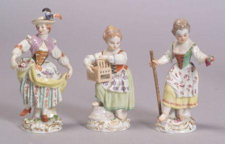 Three Meissen Porcelain Figures of Young Ladies