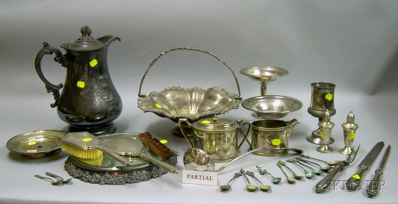 Group of Sterling and Silver Plated Silver Table and Dresser Articles