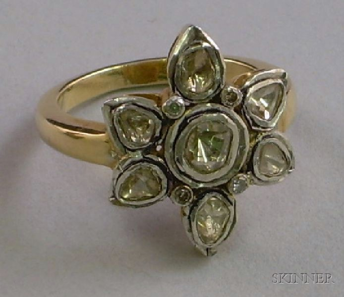 18kt Gold and Rose-cut Diamond Ring.