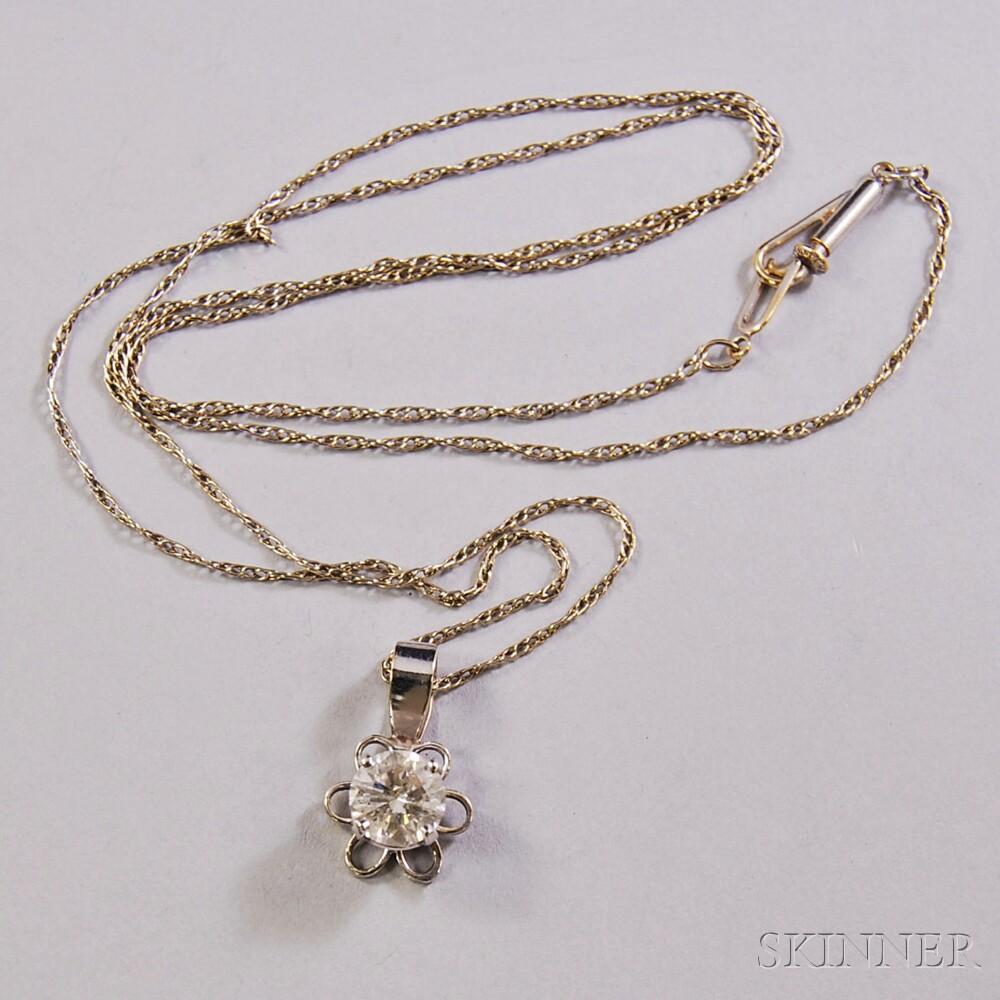14kt White Gold and Diamond Solitaire Floriform Pendant