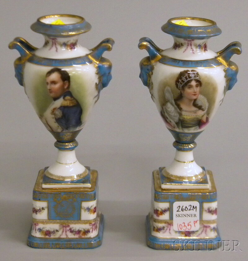Pair of Gilt and Transfer Napoleon and Josephine Portrait-decorated Porcelain   Vases