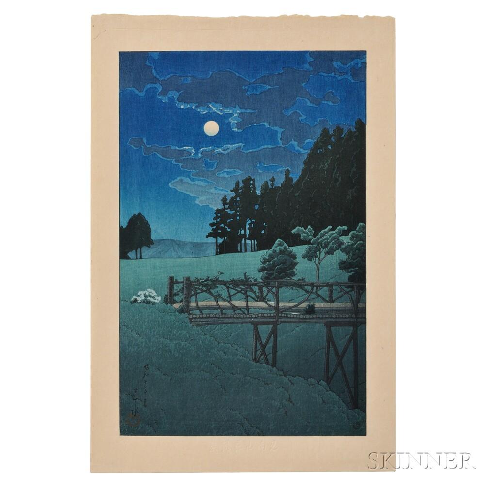 Kawase Hasui (1883-1957), Moon at Akebi Bridge