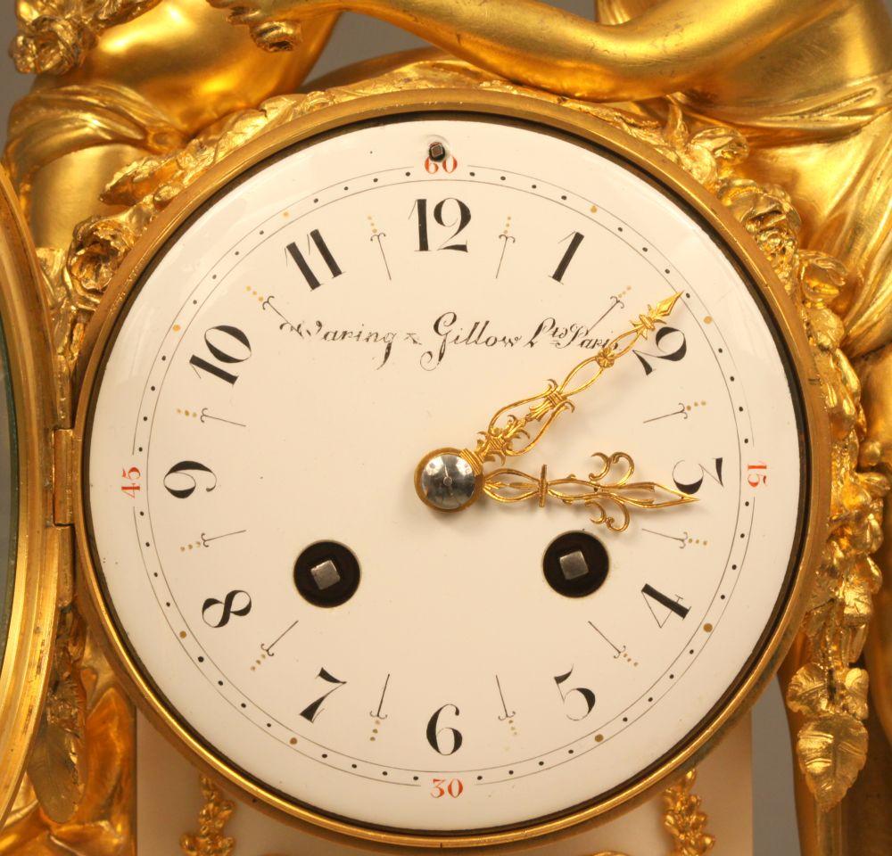 Waring and Gillow Gilt Figural Mantel Clock