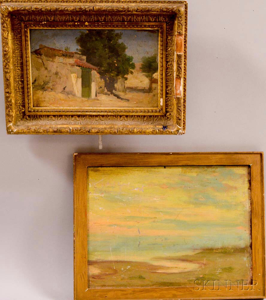 Two Framed Oil Paintings:    Frederick Porter Vinton (American, 1846-1911), Spanish Village