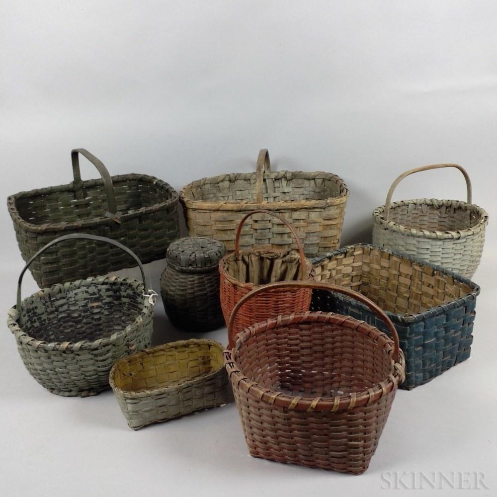 Nine Painted Woven Splint Baskets