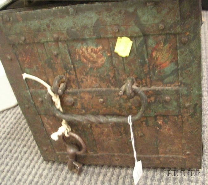 Small Northern European Painted Iron Strongbox