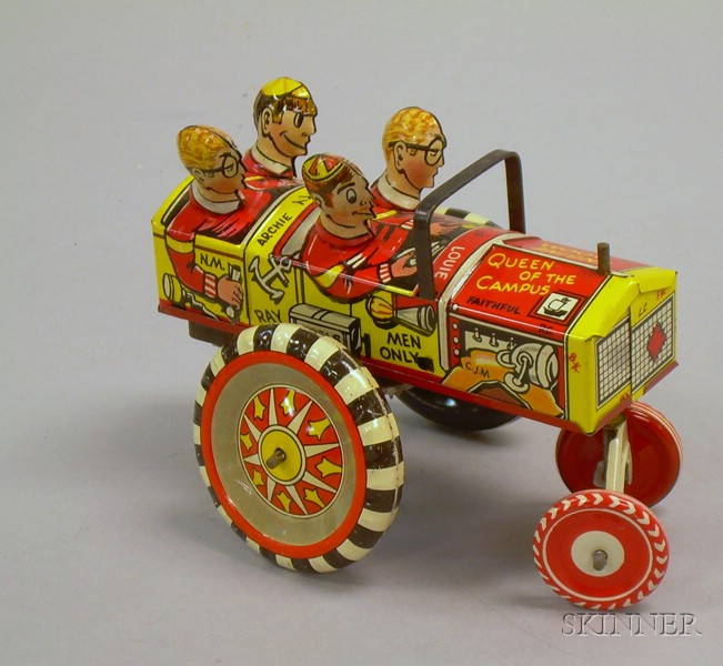 """Marx Lithographed Tin Clockwork """"Queen of the Campus"""" Car"""