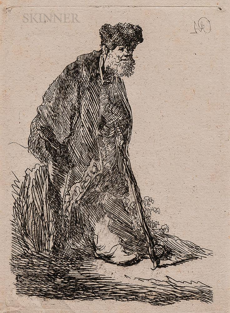 Rembrandt Harmensz van Rijn (Dutch, 1606-1669)      Man in a Coat and Fur Cap Leaning Against a Bank