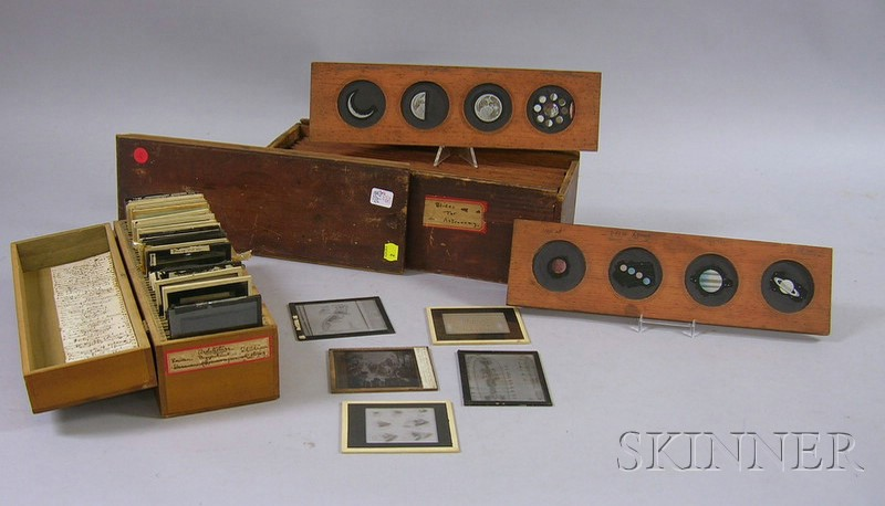 Set of Twelve Wood-framed Hand-colored Glass Four-Image Astronomy Magic Lantern   Slides and Thirty Assorted Glass Projection Slides