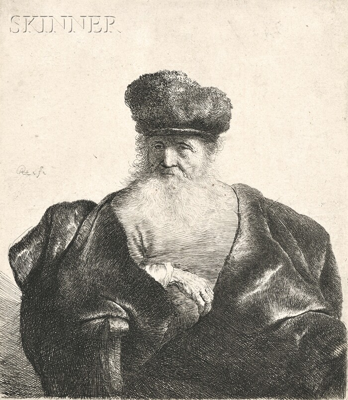 Rembrandt van Rijn (Dutch, 1606-1669)      Old Man with Beard, Fur Cap, and Velvet Cloak