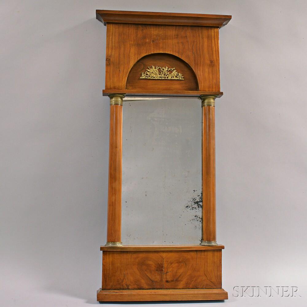 French Empire Ormolu-mounted Walnut Veneer Mirror