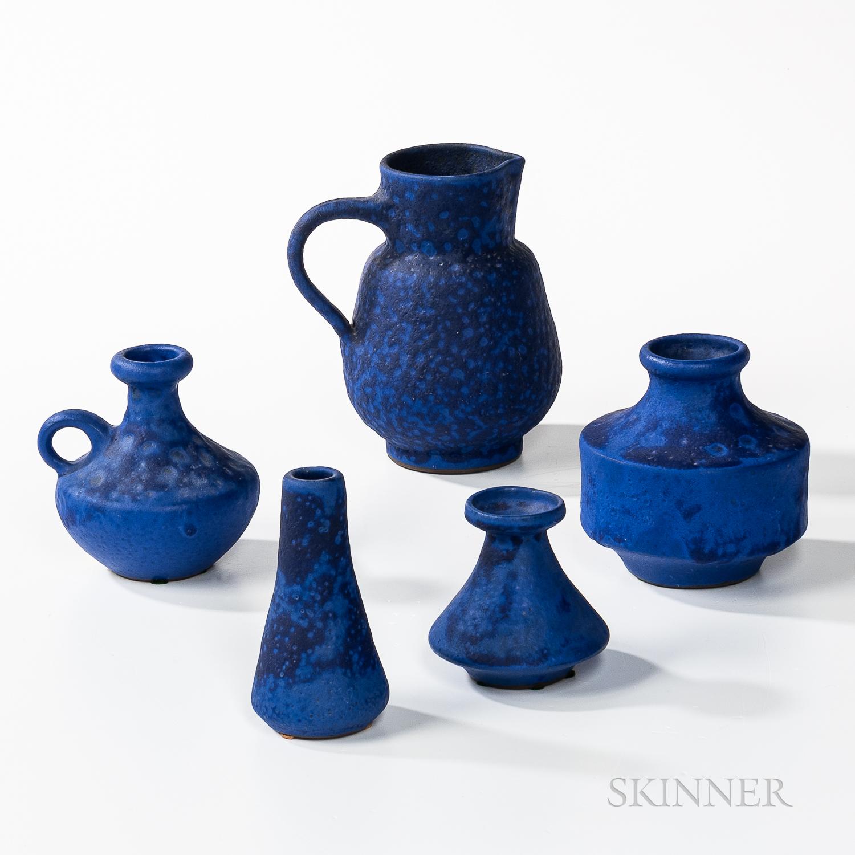 Five Studio Pottery Cobalt-glazed Vessels