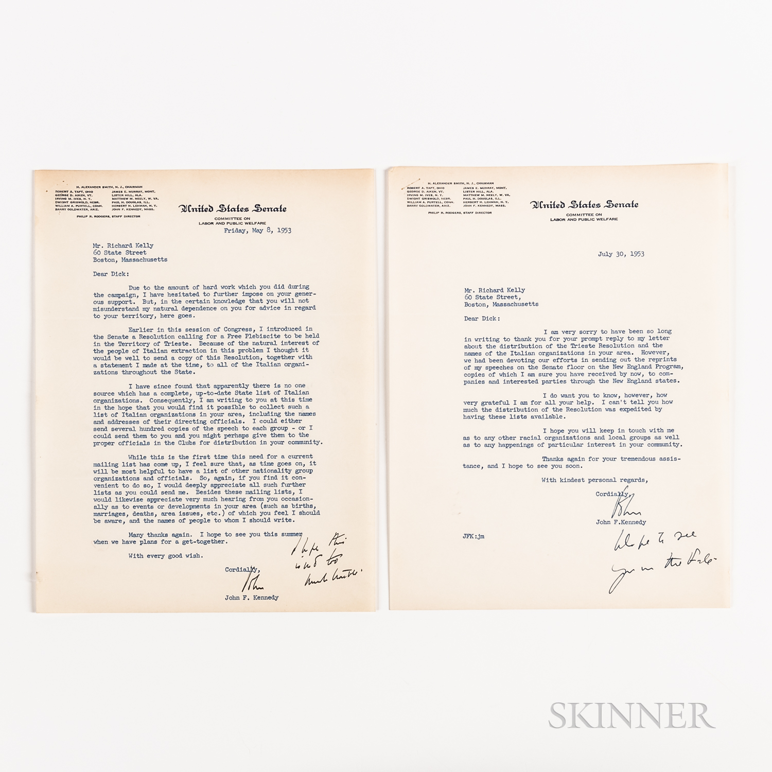 Two John F. Kennedy (1917-1963) Typed Letters Signed Regarding the Trieste Resolution, 1953.