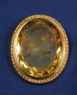 Antique 18kt Gold and Citrine Cuvette Pendant/Brooch